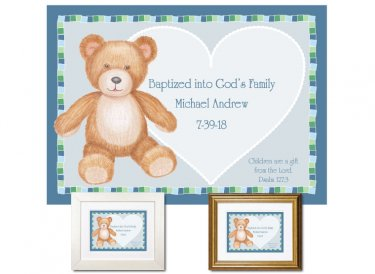 Personalized Baptism Gift - Teddy Bear (blue)