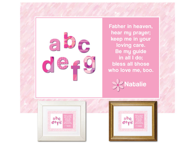 Children's Prayer - ABCs (Pink) - Click Image to Close