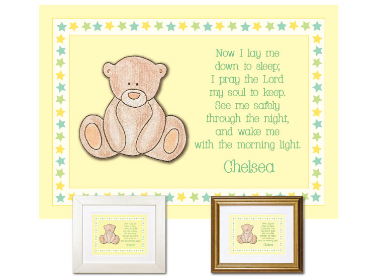 Children\'s Gift - Now I Lay Me Down - Teddy Bear (yellow) Now I Lay ...