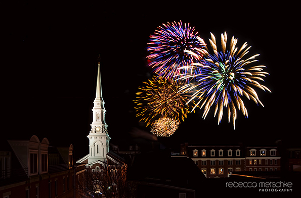 First Night Fireworks over Portsmouth, New Hampshire
