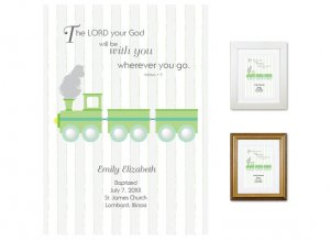 Personalized Baptism Gift - Wherever You Go (train, green)