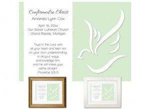 Confirmation Gift - Abstract Dove (Lime)