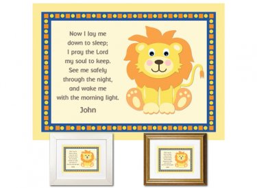 Children's Prayer - Now I Lay Me Down (Lion, Blue/Yellow)