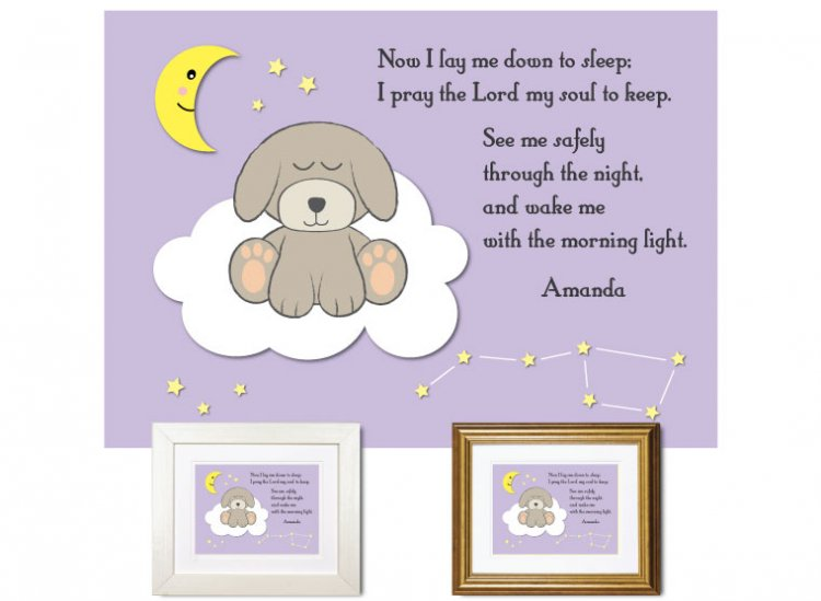 Children's Prayer - Now I Lay Me Down (Puppy, Lilac) - Click Image to Close