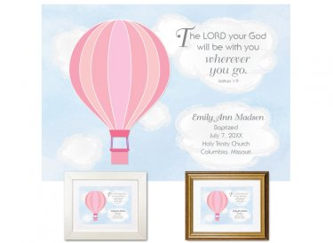 Personalized Baptism Gift - Wherever You Go (balloon, pink)