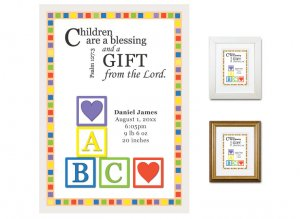 Newborn Gifts - Birth Stats - Blocks (bright colors)