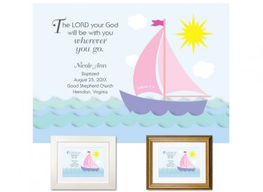 Personalized Baptism Gift - Wherever You Go (sailboat, pink)