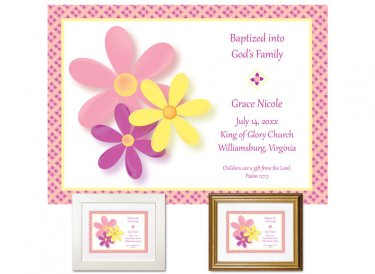 Personalized Baptism Gift - Flowers