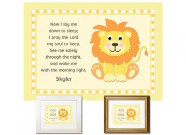 Children's Prayer - Now I Lay Me Down (Lion, Yellow)