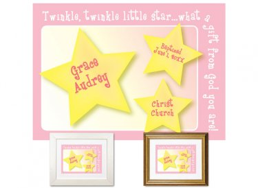 Personalized Baptism Gift - Little Star (pink)