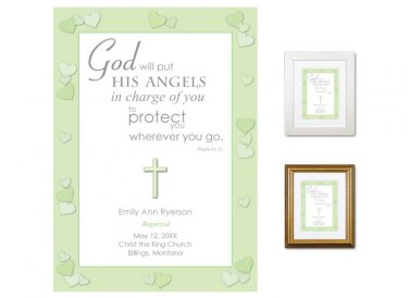 Personalized Baptism Gift - Angels (green)
