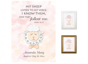 Personalized Baptism Gift - My Sheep Listen (pink)