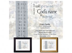 Musician Appreciation Gift - I Will Praise God's Name in Song