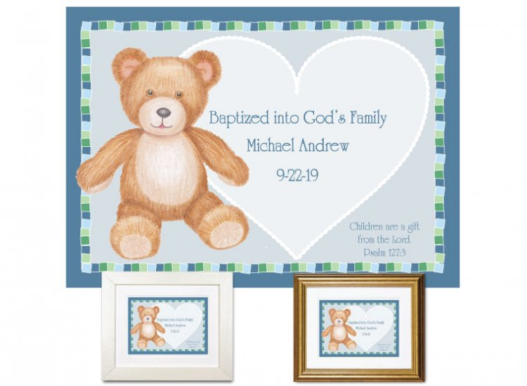 Personalized Baptism Gift - Teddy Bear (blue) - Click Image to Close