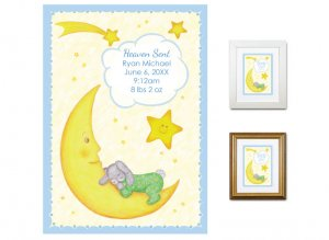 Newborn Gifts - Birth Stats - Heaven Sent (blue)