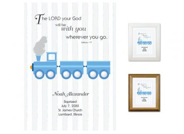 Personalized Baptism Gift - Wherever You Go (train, blue)