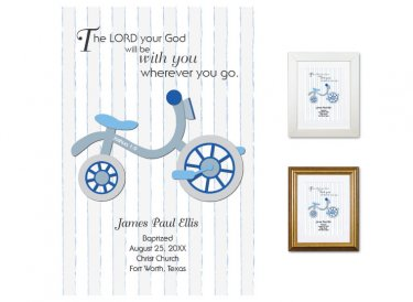 Personalized Baptism Gift - Wherever You Go (tricycle, blue)
