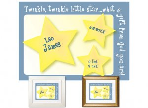 Newborn Gifts - Birth Stats - Little Star (blue)