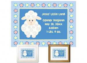 Newborn Gifts - Birth Stats - Little Lamb (blue)