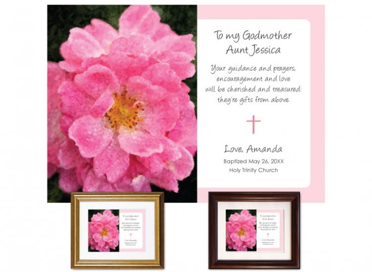 Gift for Godmother - Pink Rose - Click Image to Close
