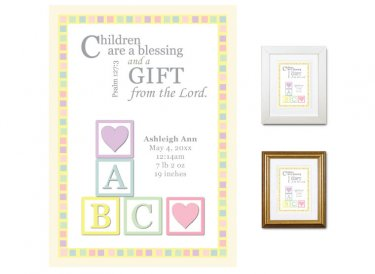 Personalized Newborn Gift - Birth Stats (Blocks, Pastels)