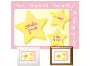 Newborn Gifts - Birth Stats - Little Star (pink)