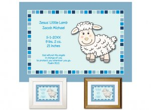 Newborn Gifts - Birth Stats - Jesus' Lamb (blue)