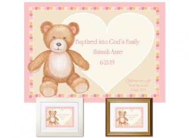Personalized Baptism Gift - Teddy Bear (pink)