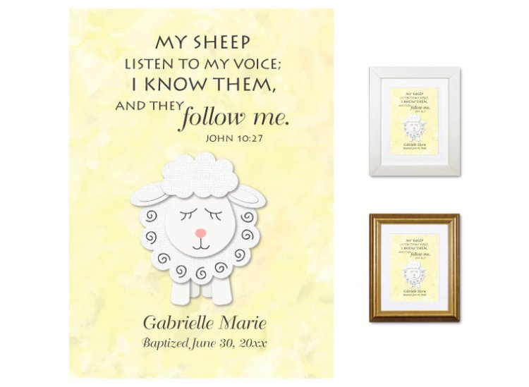 Personalized Baptism Gift - My Sheep Listen (yellow) - Click Image to Close