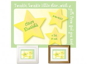 Newborn Gifts - Birth Stats - Little Star (green)