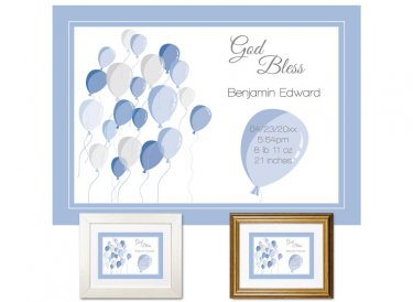 Newborn Gifts - Birth Stats - Balloons (Blue)