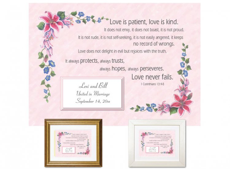 Wedding Gift - Love is Patient and Kind - Click Image to Close