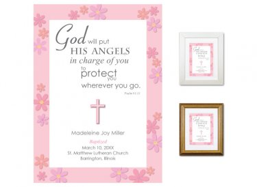 Personalized Baptism Gift - Angels (pink)