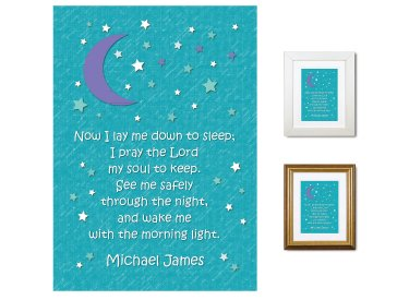 Children's Prayer - Now I Lay Me Down (Night Sky, Teal)