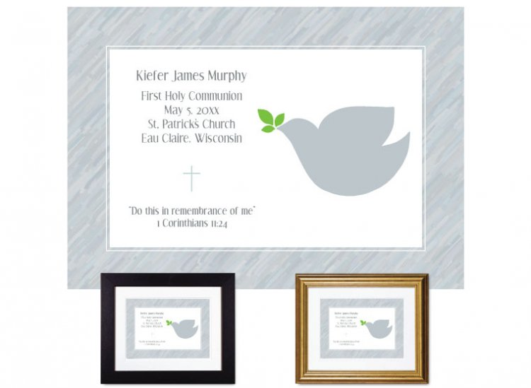 First Communion Gift - Dove (Grey) - Click Image to Close