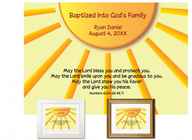 Personalized Baptism Gift - Sunshine - Click Image to Close