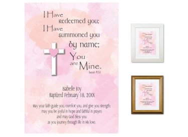 Personalized Baptism Gift - You are Mine (pinks)