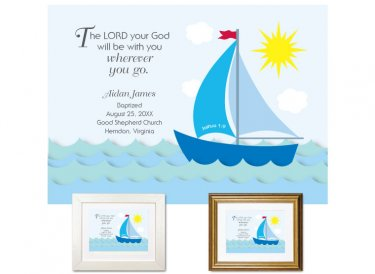 Personalized Baptism Gift - Wherever You Go (sailboat, blue)