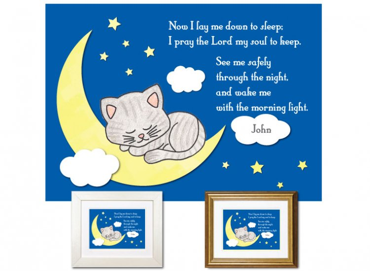 Children's Prayer - Now I Lay Me down (Kitten, Blue) - Click Image to Close