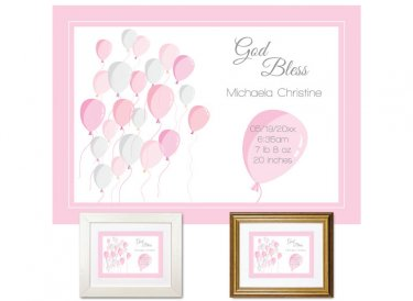 Newborn Gifts - Birth Stats - Balloons (pink)