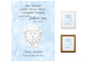 Personalized Baptism Gift - My Sheep Listen (blue)