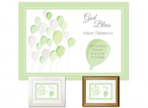 Newborn Gifts - Birth Stats - Balloons (green)