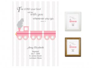 Personalized Baptism Gift - Wherever You Go (train, pink)