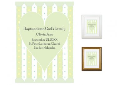 Personalized Baptism Gift - God's Family (heart, green)