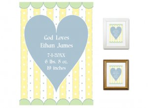 Newborn Gifts - Birth Stats - God Loves (blue)