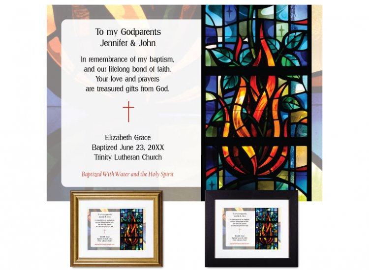 Gift for Godparents - Stained Glass (Flame) - Click Image to Close