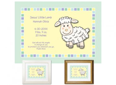 Newborn Gifts - Birth Stats - Jesus' Lamb (mint)