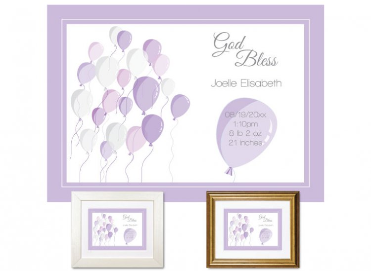 Newborn Gifts - Birth Stats - Balloons (violet) - Click Image to Close
