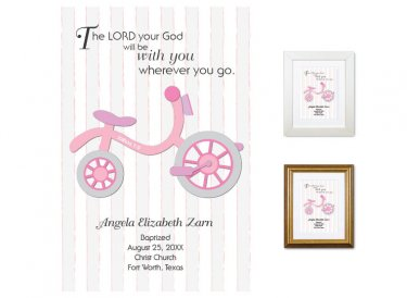 Personalized Baptism Gift - Wherever You Go (tricycle, pink)