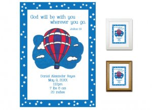Newborn Gifts - Birth Stats - Hot Air Balloon